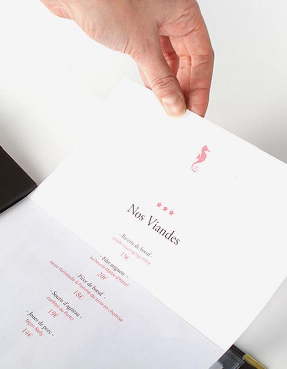 Porte-menu Porte-menu 19 x 32 cm - Couverture personnalisable en recto et verso