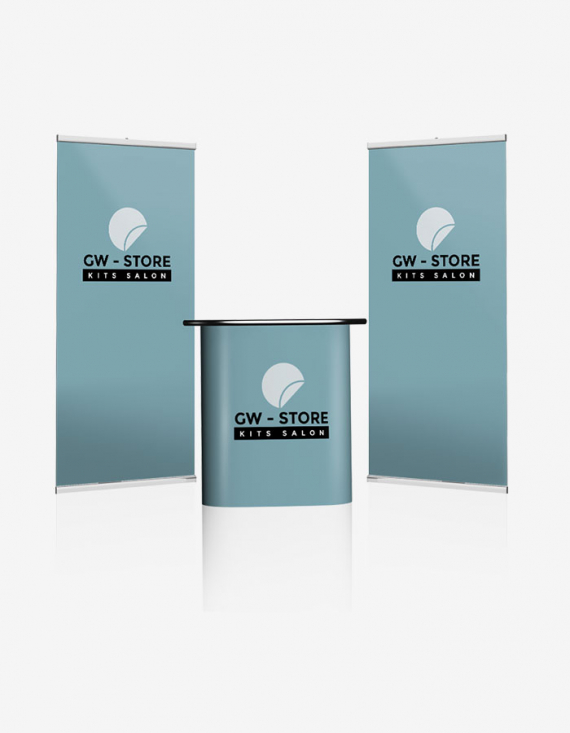 Kit salon Réassort visuel roll up - Pour 2 modules roll up différents pour stand 12/18